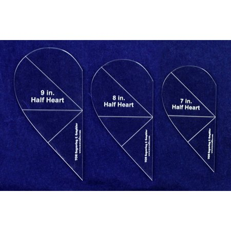 """3 Piece Half Heart Quilting and Sewing Template Set 1/8"""" Clear Acrylic"""