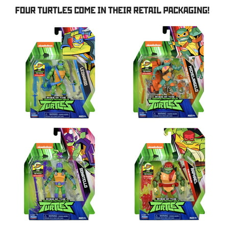 Rise of the Teenage Mutant Ninja Turtles Basic Action Figure 4Pk Bundle (Ninja Turtle Dress Up)