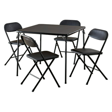 Cosco 5-Piece Card Table Set, Black ()