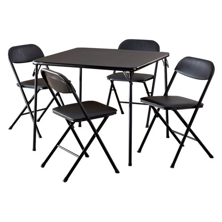 Cosco 5-Piece Card Table Set, Black - Walmart.com