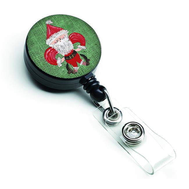 Carolines Treasures 8746BR Christmas Santa Fleur De Lis Retractable Badge Reel - image 1 de 1