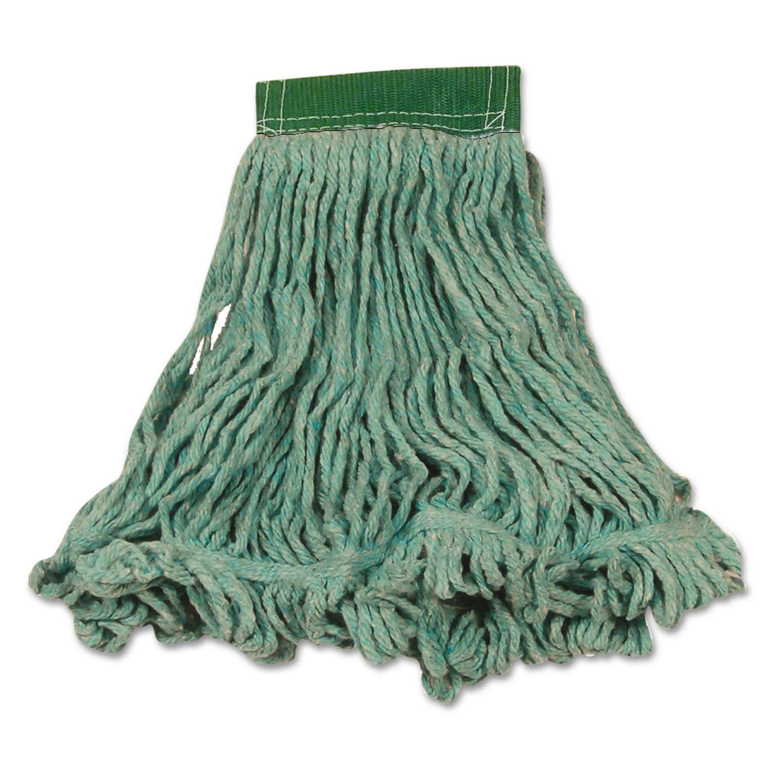 Rubbermaid Commercial Super Stitch Blend Mop Heads, Cotton/Synthetic, Green, Medium