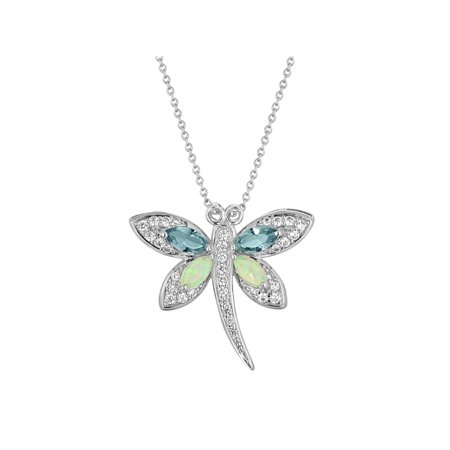 Butterfly Rugby (Sterling Silver-Plated Simulated Ruby and Simulated Pink Sapphire with CZ Accents Butterfly Pendant,)