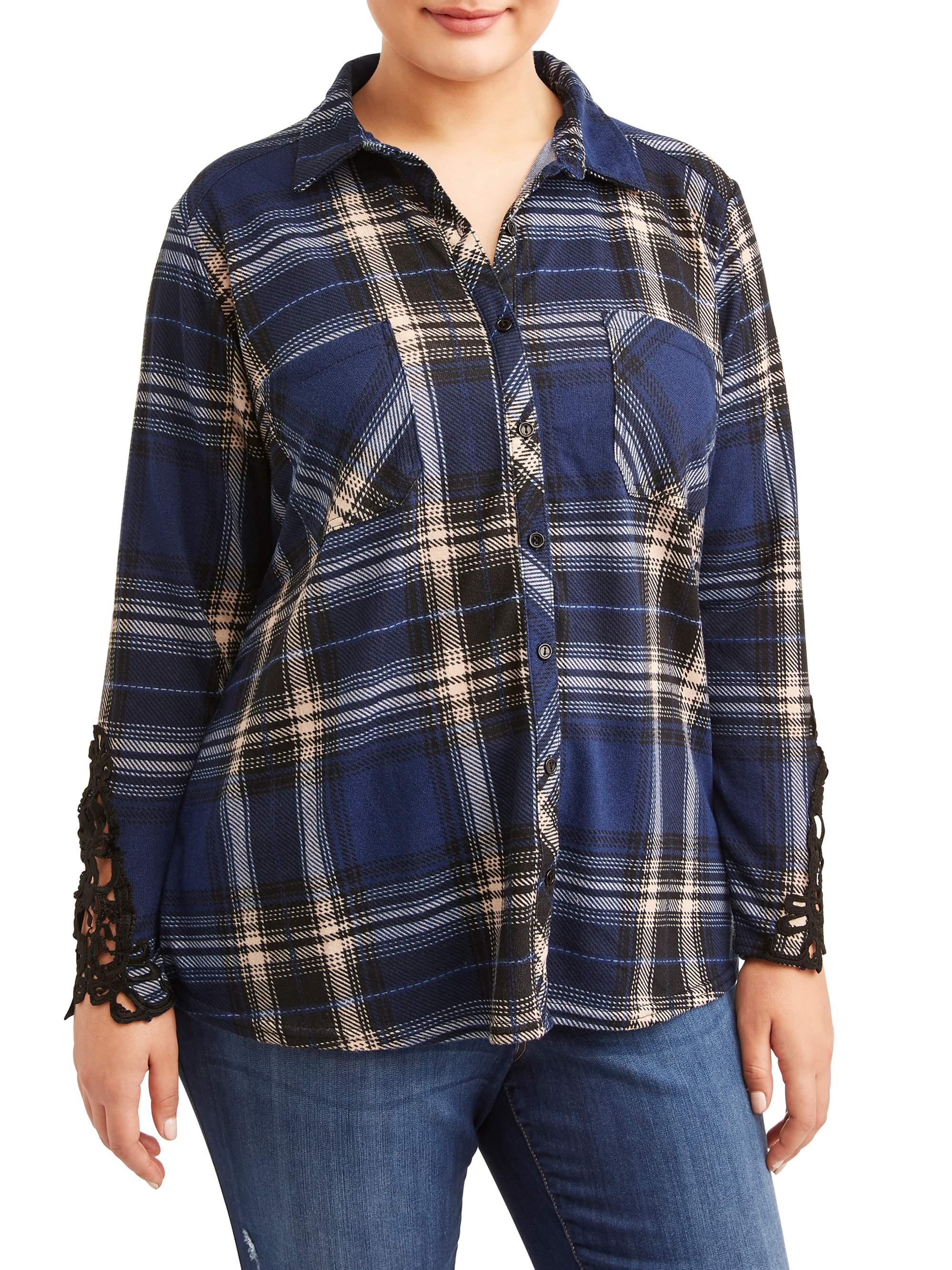 Women's Plus Size Button Front Shirt with Crochet Trim