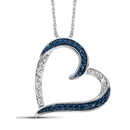 Diamond Open Heart Pendant - 1/10 Carat T.W. Blue and White Diamond Sterling Silver Open Heart Pendant