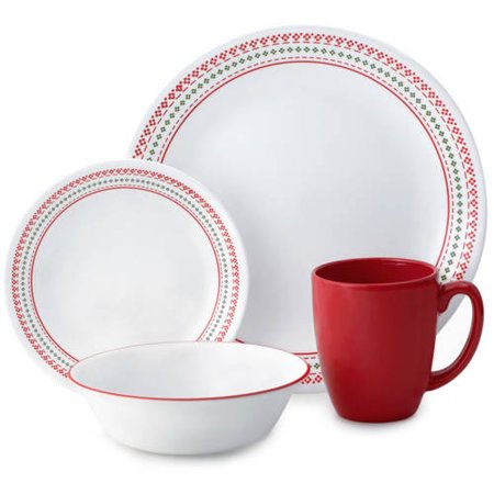 Corelle Livingware Holiday Stitch Set 16 Piece Walmart Com