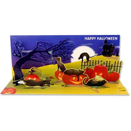 Up With Paper Halloween Cats Panoramic Pop-Up Halloween Card - Halloween Pop Up Cards To Make