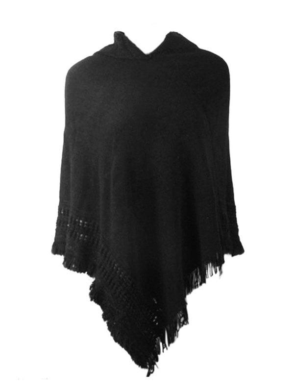 JIMSHOP Fashion Women Warm Solid Color Slim Tassels Cloak Batwing Sweater