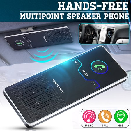 Hands Free Emergency Speakerphone - Wireless bluetooth Handsfree Speakerphone Multipoint Speakerphone Kit Car Sun Visor Hands-free Phone Audio Music Receiver Devices + Car + USB Cable