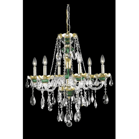 Green Crystal Chandelier - Chandeliers 6 Light With Clear Crystal Royal Cut Green size 24 in 360 Watts - World of Classic