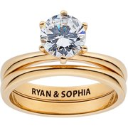 Personalized Gold over Sterling Silver Round CZ 2-Piece Engraved Wedding Set