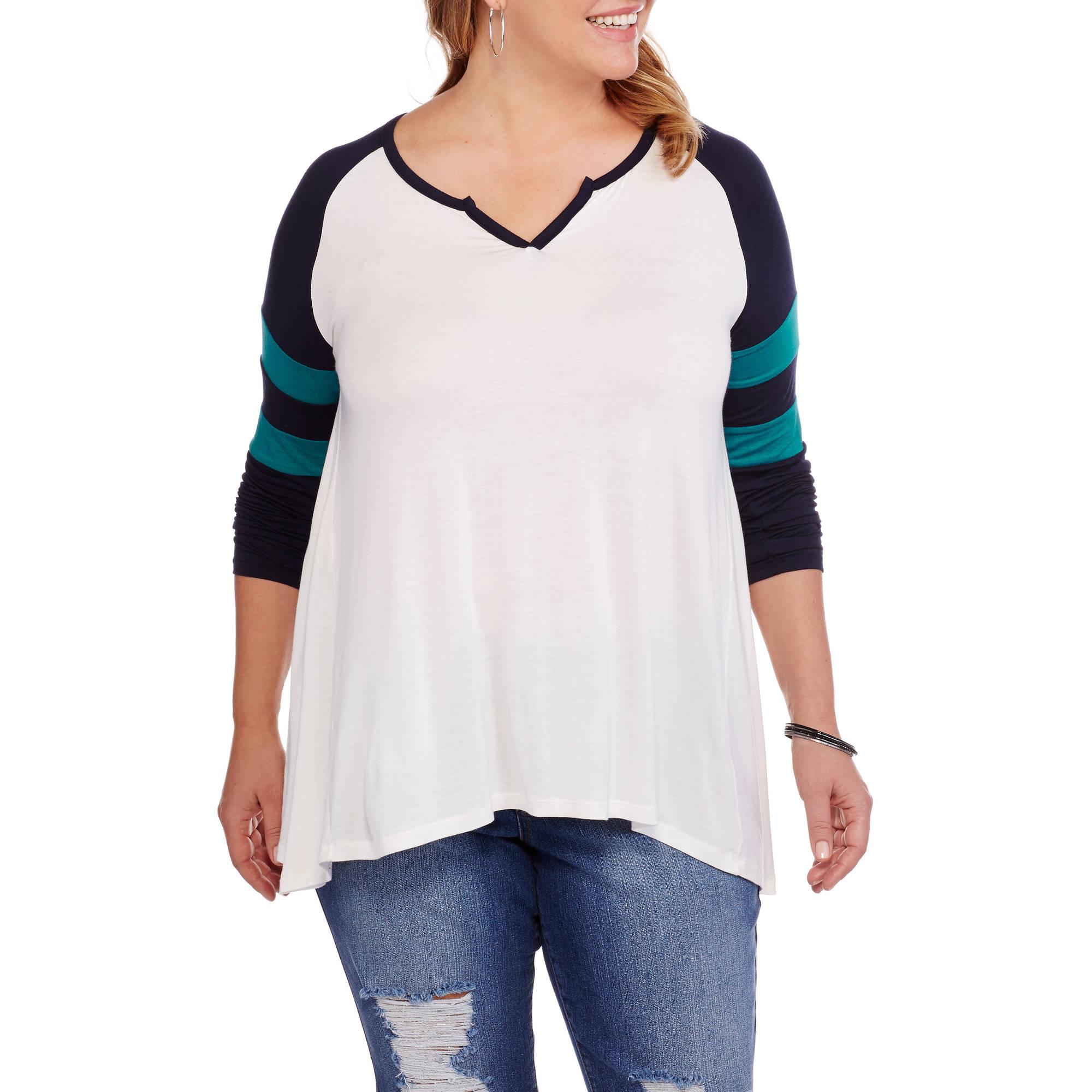 Extra Touch Juniors' Plus Varsity Long Sleeve Sharkbite Knit Shirt