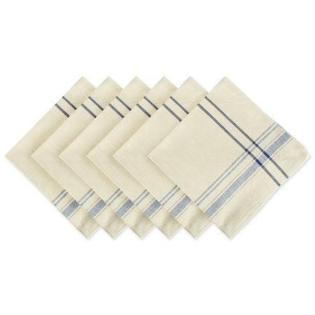 Cotton Table Napkins (DII Nautical Blue French Stripe Napkin (Set of 6), 20x20