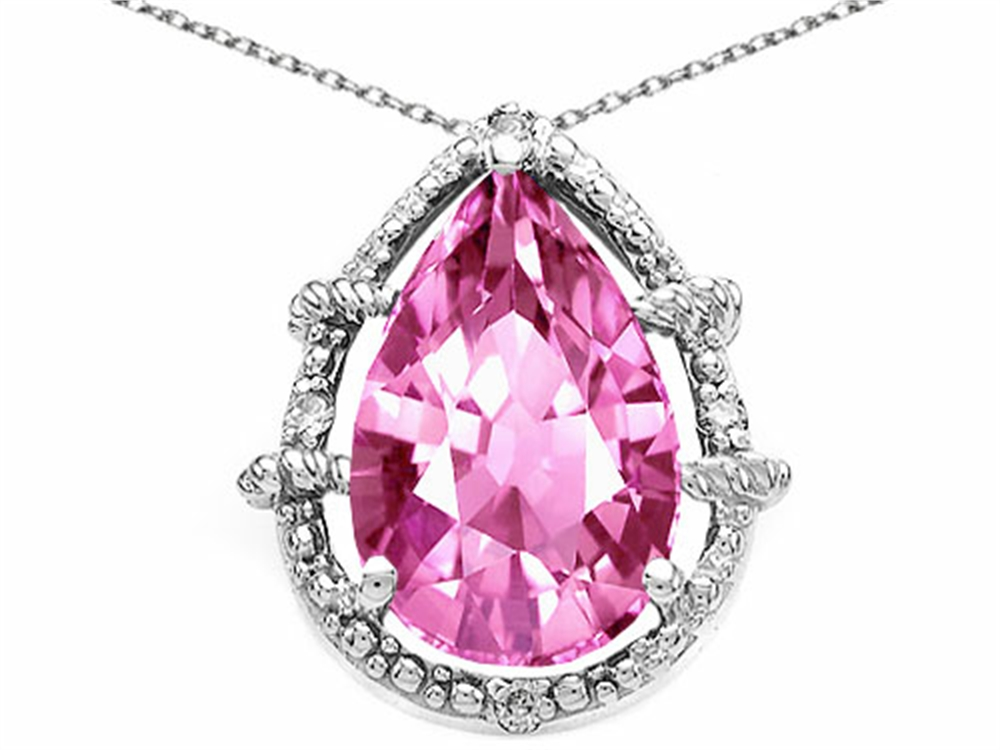 Tommaso Design Pear Shape 11x8mm Simulated Pink Tourmaline Pendant Necklace by