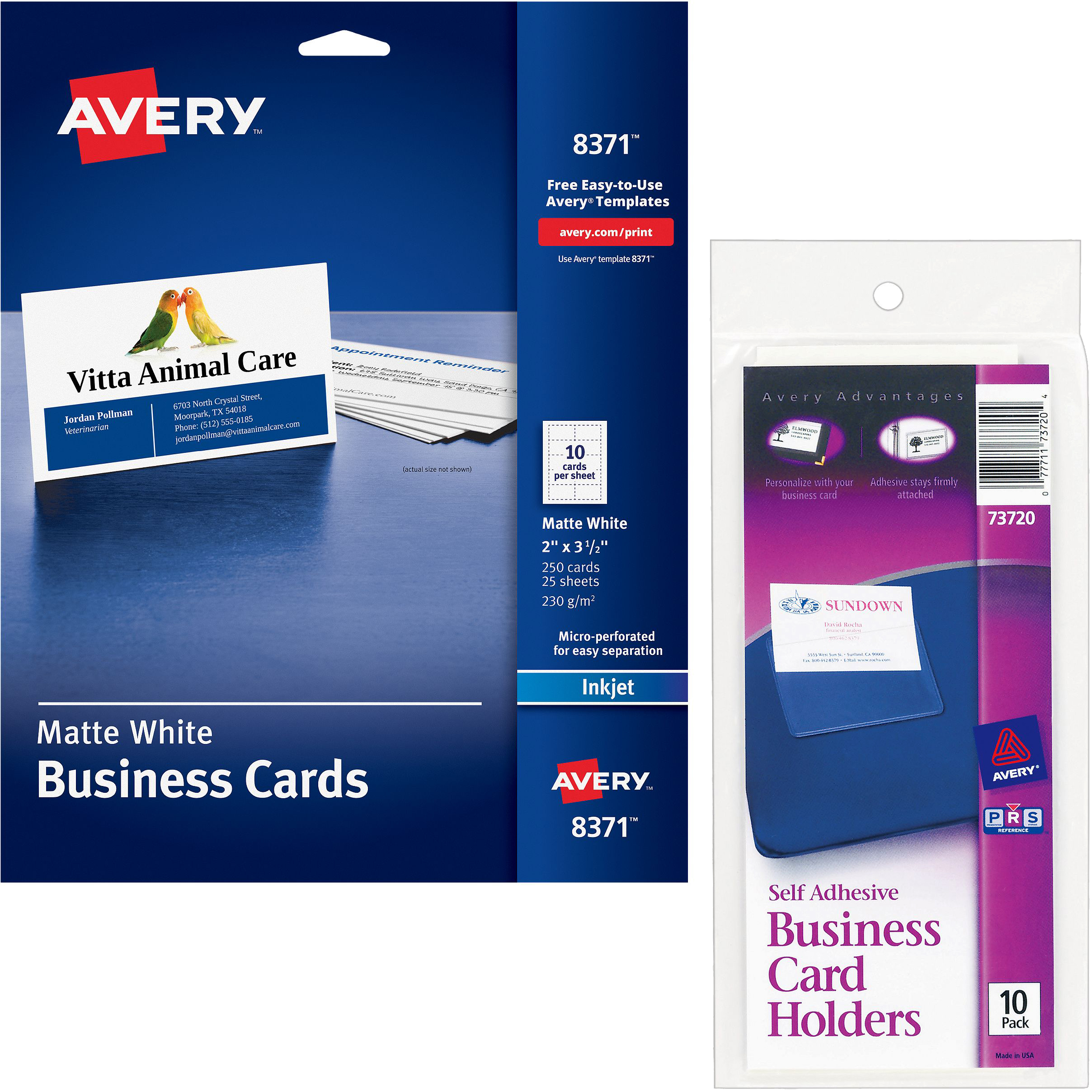 Avery self adhesive business card holders 73720 best business cards with avery self adhesive business card holders top load 3 1 2 x magicingreecefo Images