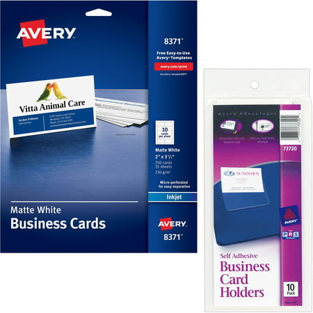With Avery Self-Adhesive Business Card Holders, Top Load, 3-1/2 x 2, Clear, 10/Pack