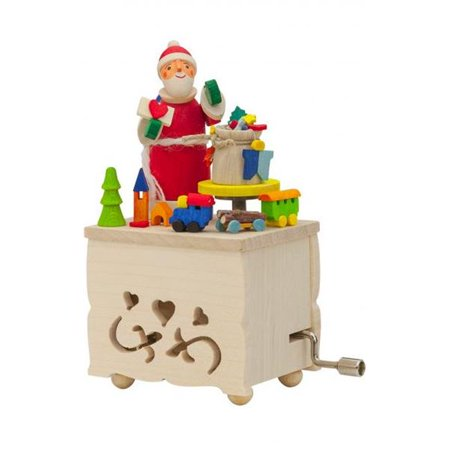 Alexander Taron 150 Graupner Music Box - Santa with Toys Plays Tune We Wish You a Merry Christmas