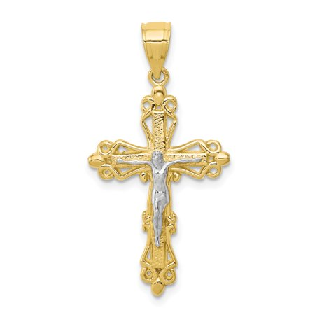 10k Yellow Gold Crucifix Cross Religious Pendant Charm Necklace Fleur De Lis Fine Jewelry Gifts For Women For Her - image 6 of 6