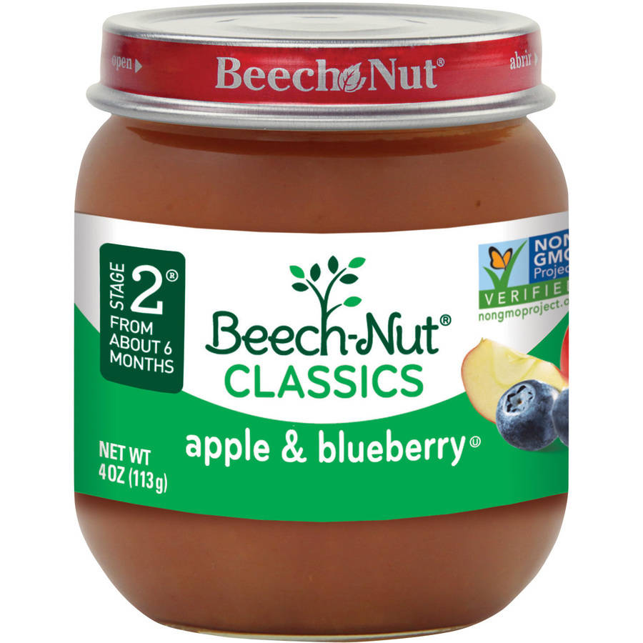 Beech-Nut Classics Stage 2 Apple & Blueberry Baby Food, 4 oz, (Pack of 10)