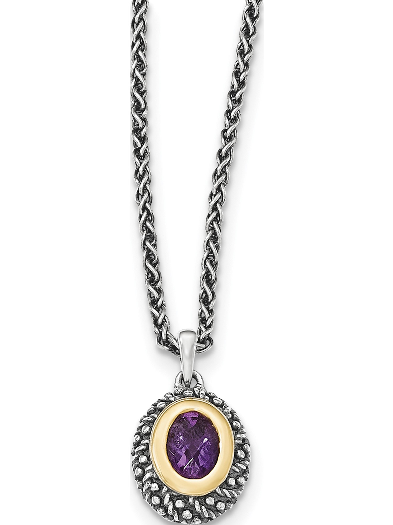 14k  Silver Two-Tone w  Amethyst Necklace by