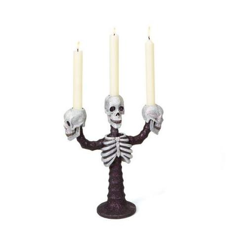 "12"" Ghoulish Black and White Skeleton Head Halloween Taper Candle Holder by Melrose"