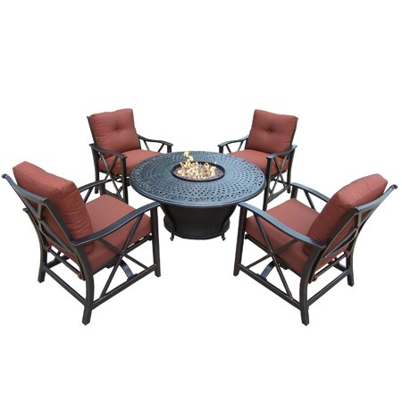 Image of Oakland Living Corporation Premium Carolton 5-piece Chat set with Round Firepit Table, Glass Beads, Cover, 4 Rocking Chairs and Cushions