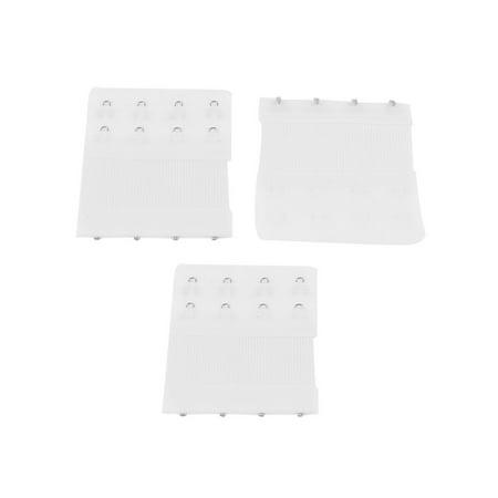 3 Pcs Underwear Buckle 4 x 2 Positions Bra Strap Extending Hooks White ()
