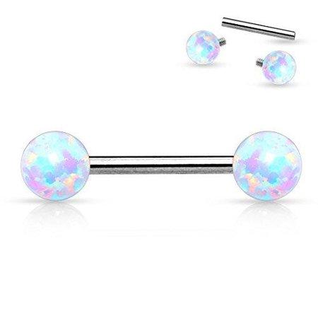 Nipple Bar 14g Internally Threaded Opal Balls on Both sides 316L Surgical Steel 14g Internally Threaded Replacement