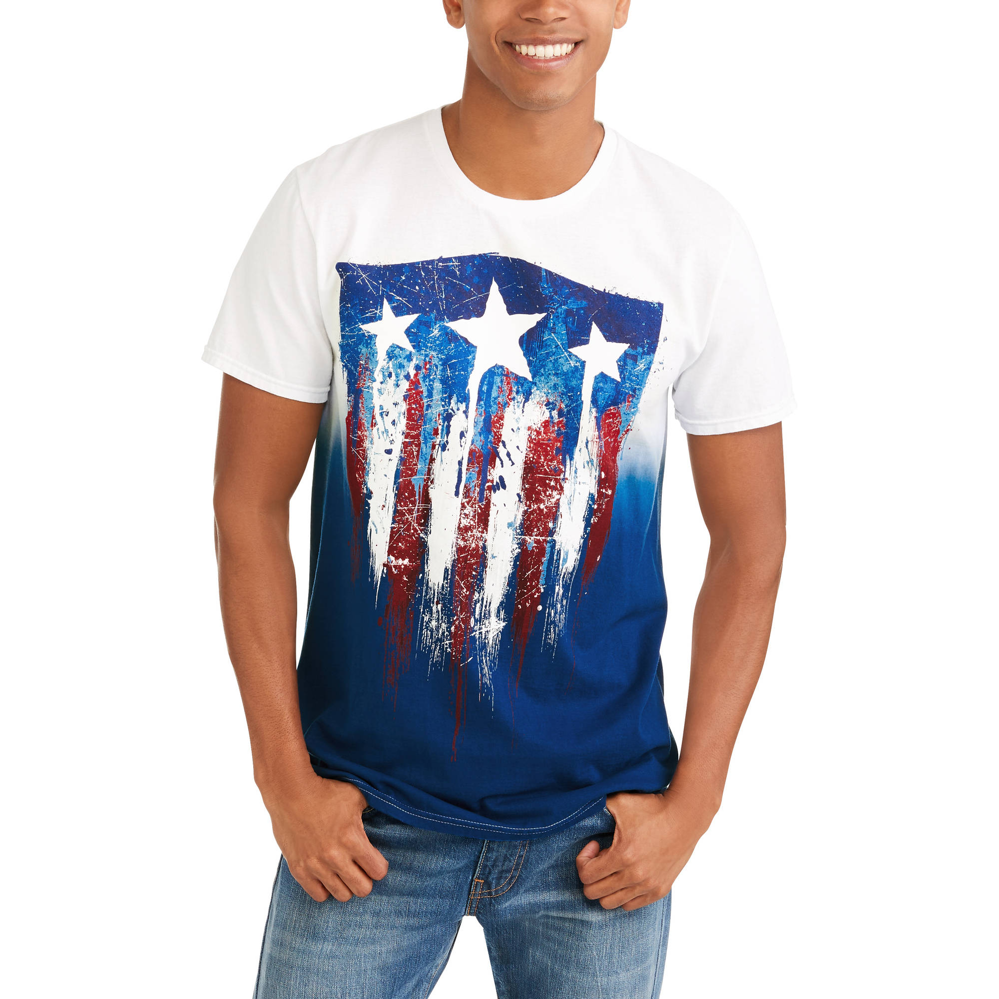 American Flag Men's Ombre Graphic Tee