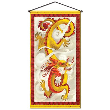 Pack of 12 Metallic Chinese Dragon New Year Door & Wall Panel Decoration 60