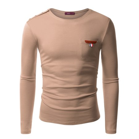 Doublju Mens Long Sleeve Crew Neck T-Shirt