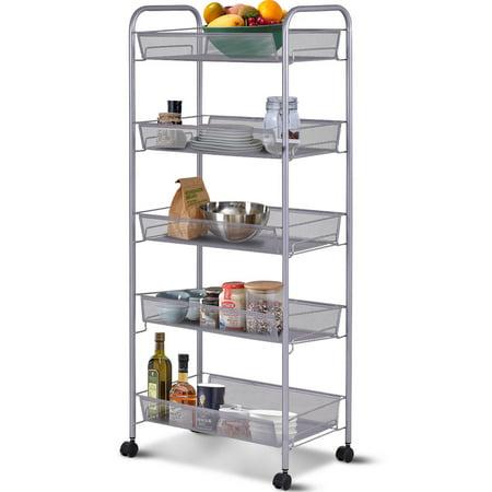 Costway 5 Tier Storage Rack Trolley Cart Home Kitchen Organizer Utility Baskets Sliver
