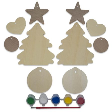 10 Unfinished Wooden Christmas Tree, Heart, Ball & Star Ornament Cut (Wooden Christmas Balls)