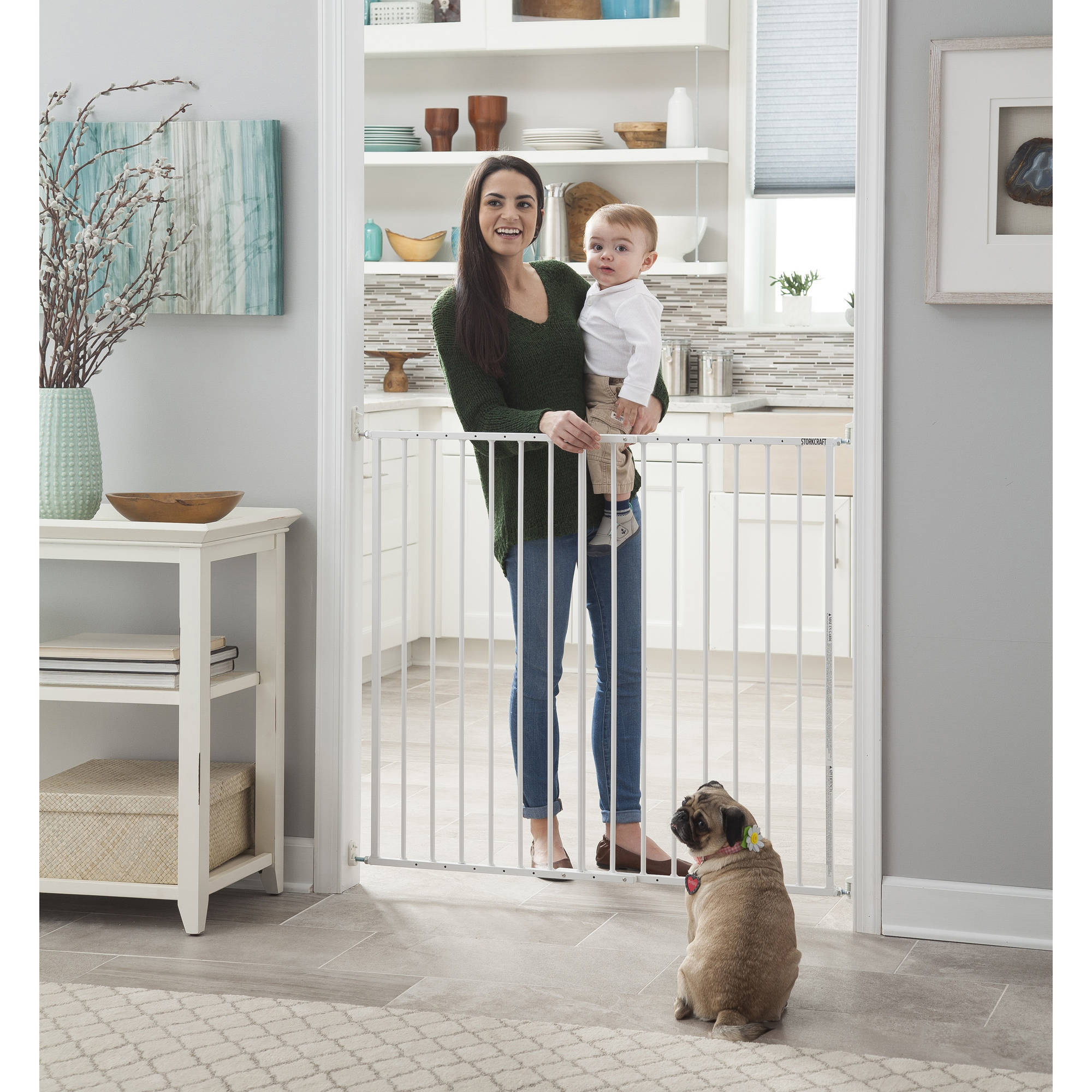 Storkcraft Easy Walk-Thru Tall Metal Safety Gate, White