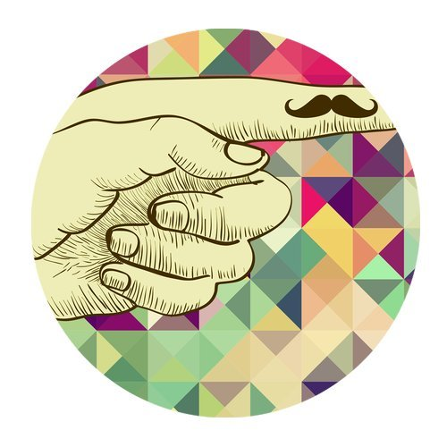 MKHERT Mustache on Finger Round Mousepad Mat For Mouse Mice Size 7.87x7.87 inches