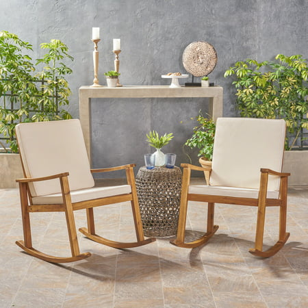 Outdoor Acacia Wood Rocking Chair With Cushions Teak Cream