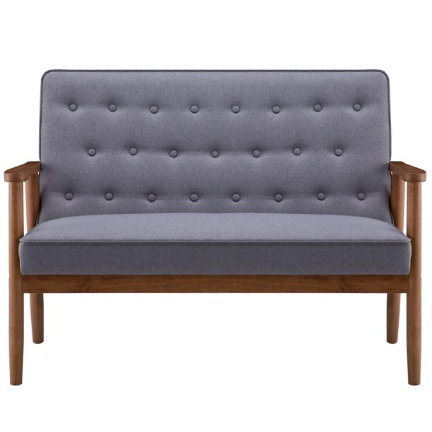 Zimtown Mid-Century Two-person Retro Modern Accent Upholstered Wooden Lounge Arm Chair for Living Room Bedroom Apartment Gray