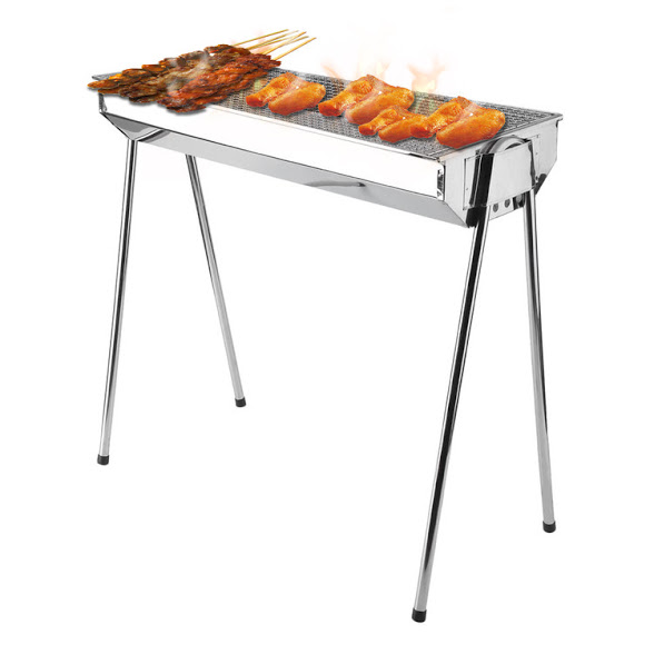 Foldable Barbecue Charcoal Grill Outdoor Portable BBQ Stove Stainless Steel Shish Kabab Barbecue Grill With... by Hillda