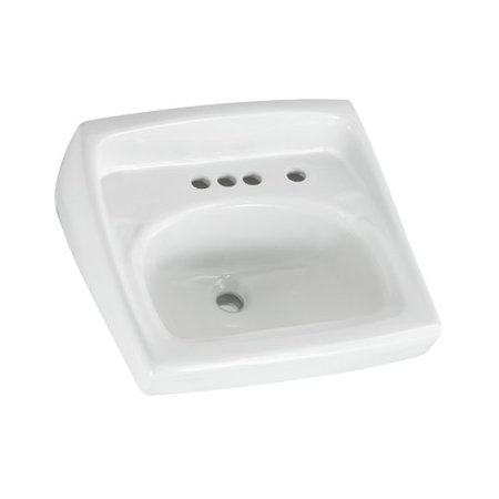 American Standard 0355.034.020 Lucerne Wall Mounted Lavatory Sink for Wall Hangers (included) or Concealed Arms (not included) with Three Faucet Holes (4 Centers) and Extra Right-Hand Hole,
