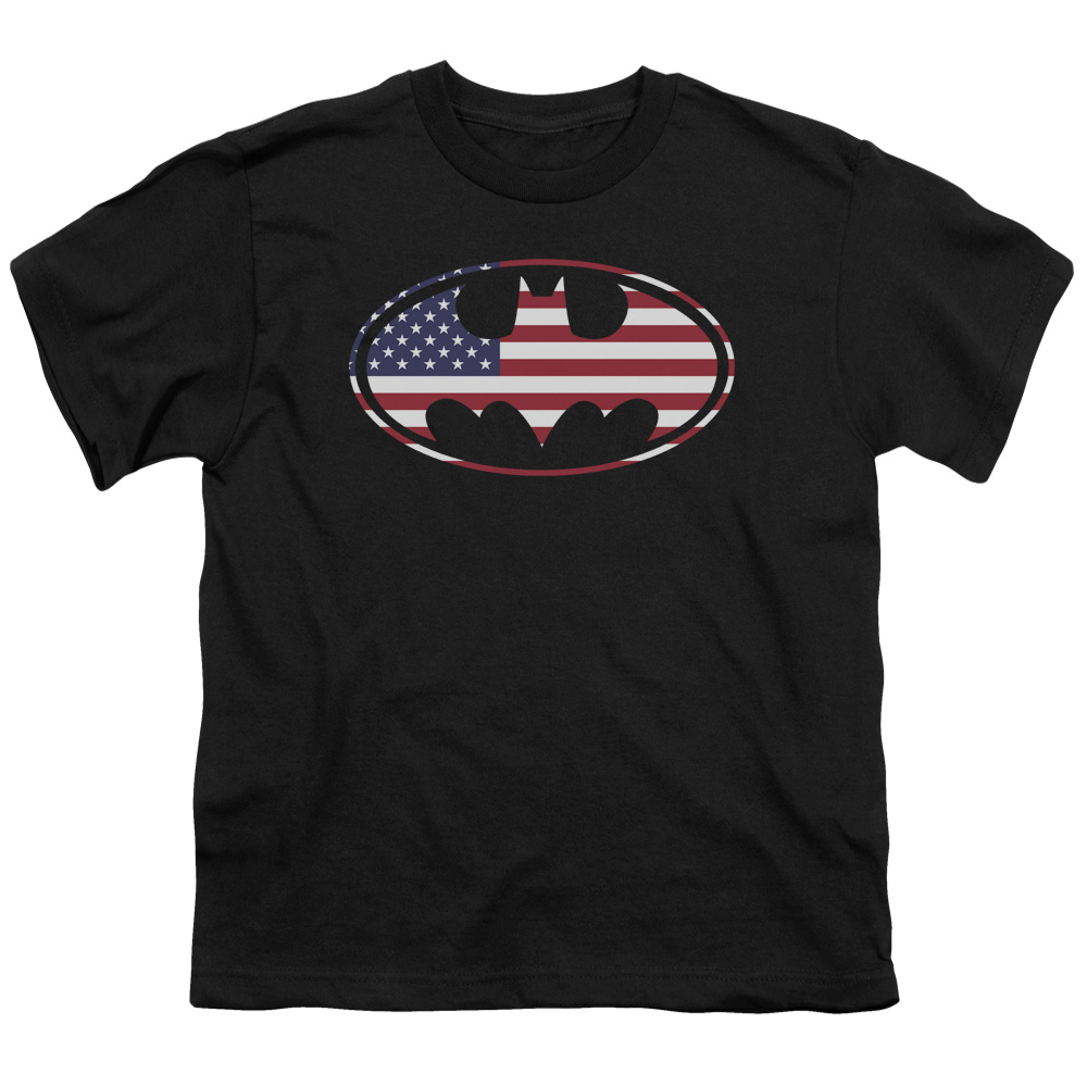 BATMAN/AMERICAN FLAG OVAL - S/S YOUTH 18/1 - BLACK - SM