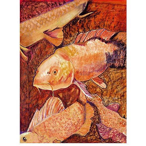 "Trademark Art ""Golden Koi"" Canvas Art by Pat Saunders-White, 24x32"