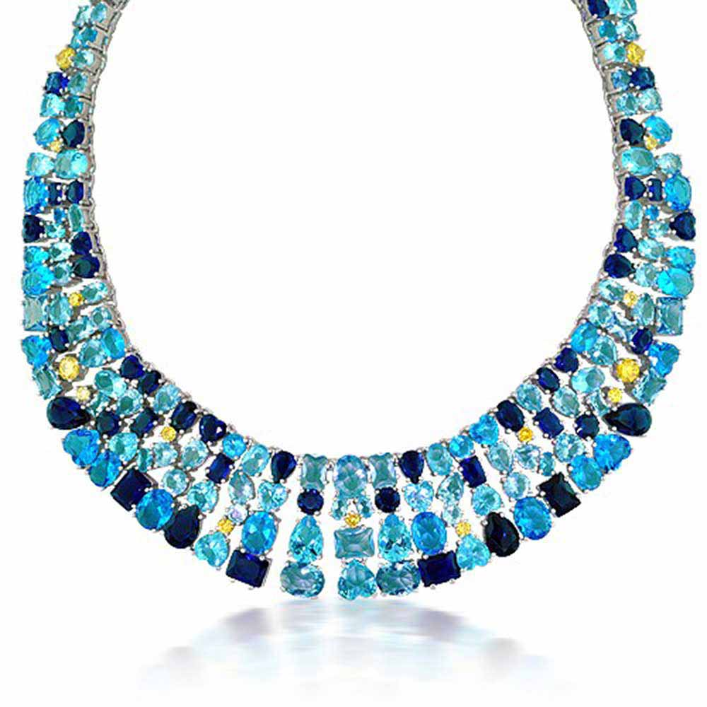 Bling Jewelry Simulated Aquamarine Cubic Zirconia Fancy Collar Necklace Rhodium Plated by Bling Jewelry