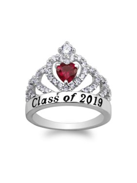 JamesJenny 925 Sterling Silver School Class of 2019 Graduation Red 0.5ct Heart CZ Ring Size 5-10
