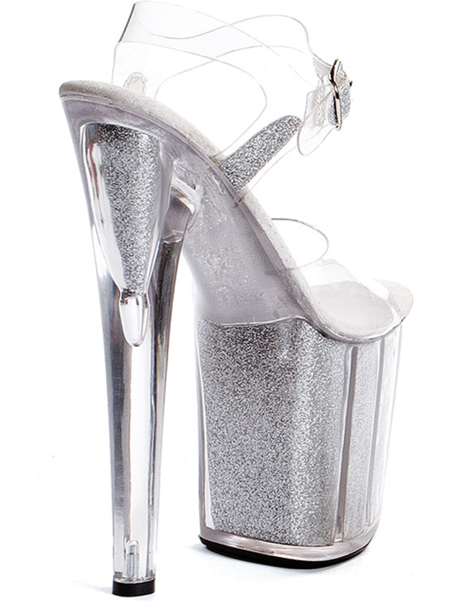 Women's Sexy High Platform Glitter Filled Sandal Shoes 8 Inch Dancer Shoes