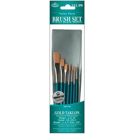 Royal Brush Brush Set Value Pack, Gold Taklon, 10-Pack, Shader/Round/Detail/Flat 1/2 Golden Taklon Brush
