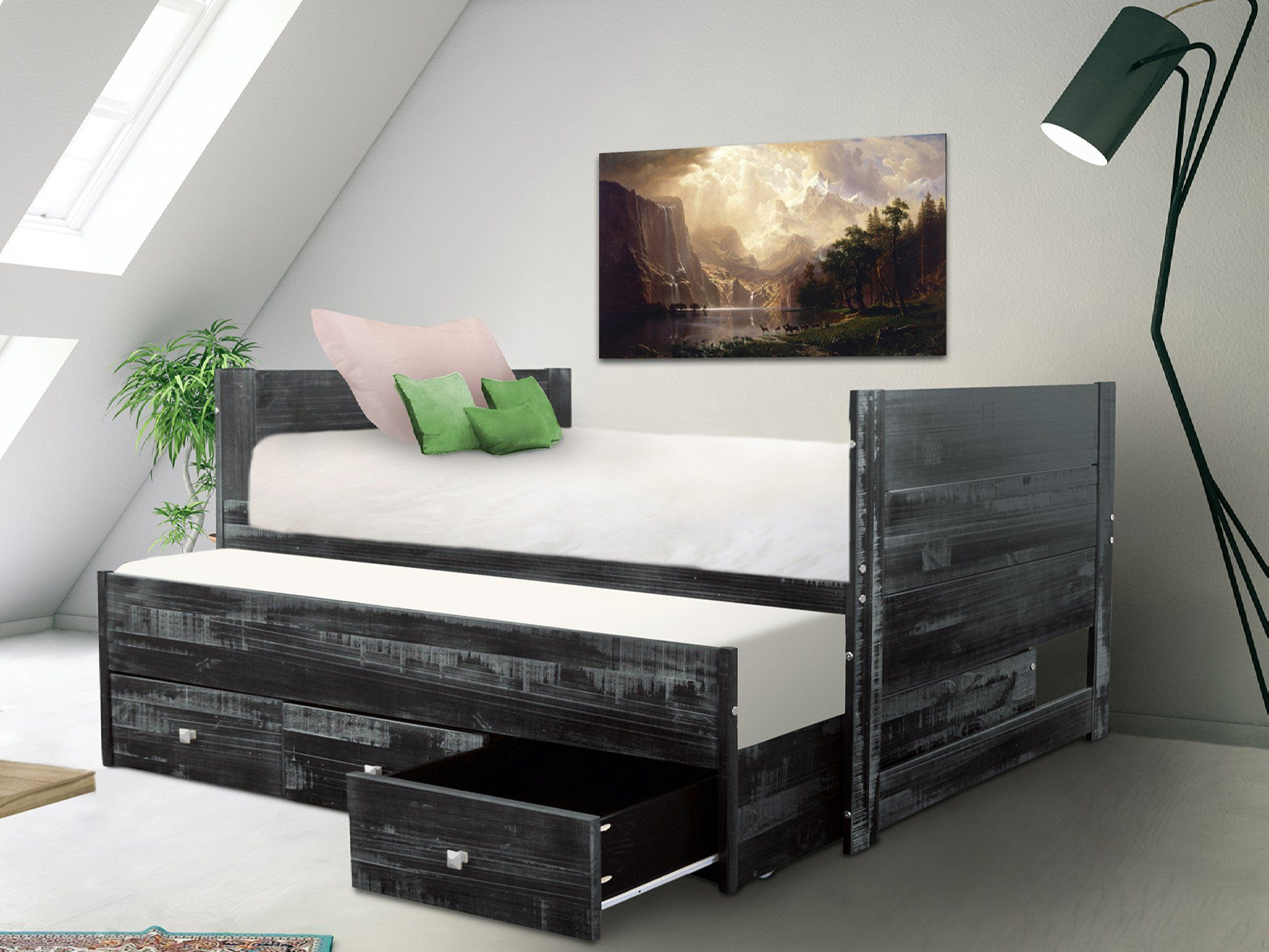 Bedz King All In One Twin Bed With, La Salle Twin Captain S Bed With Trundle And Storage Drawers White