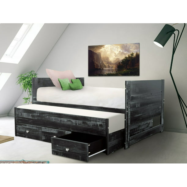 Bedz King All in One Twin Bed with Twin Trundle and 3 Built in Drawers Weathered Black