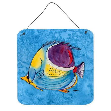 Fish Tropical On Blue Aluminium Metal Wall Or Door Hanging Prints