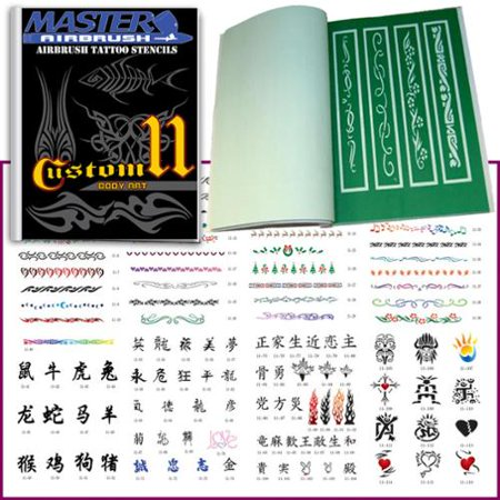 SET 11 BOOK 116 Reusable Airbrush Temporary Tattoo Stencil Art Designs Templates Airbrush Stencil Set