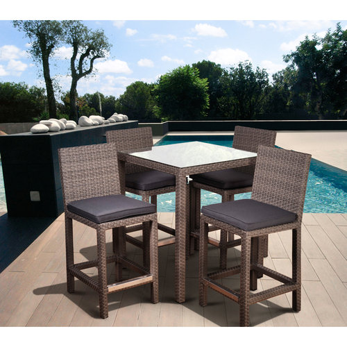 Monza Square 5-Piece Patio Bar Set Grey with Grey Cushions